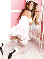 Reika Miki Asian is such cute kitten in white fluffy lingerie