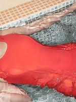 Megumi Suzumoto with big boobs in orange bath suit loves sports