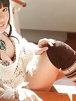 Tomoe Yamanaka Asian in long socks and thong shows sexy back