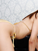 Sayuri Ono Asian touches her hot curves over golden lingerie